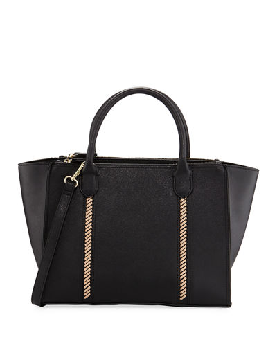 Lacing Saffiano Zip Satchel Bag