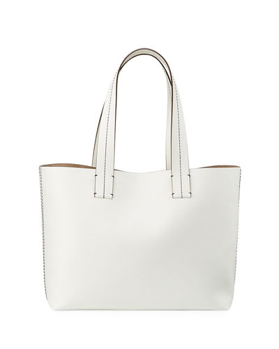 Farrah Topstitch Leather Tote Bag