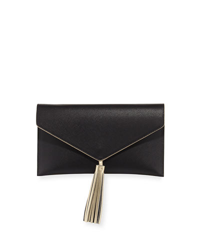 Contrast-Tassel Envelope Clutch Bag