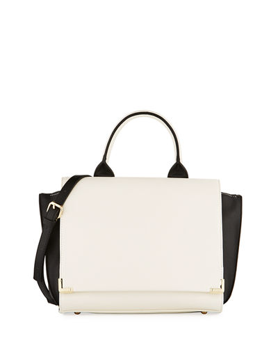 Colorblock Winged Flap Satchel Bag