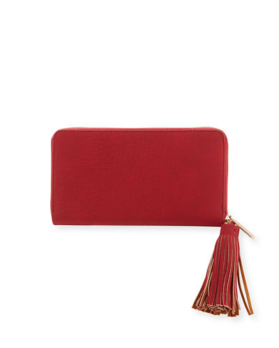 Matte Pebbled Zip-Around Wallet