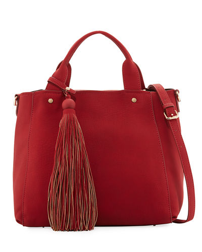 Matte Pebbled Tote Bag w/ Large Hanging Tassel