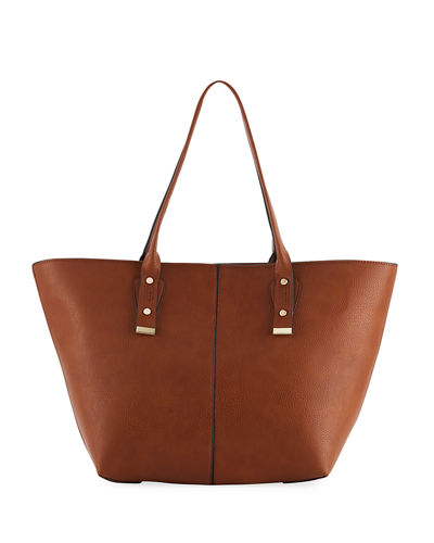 A Line Basic Faux Leather Tote Bag