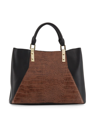 Jess Snake-Panel Faux-Leather Satchel Bag