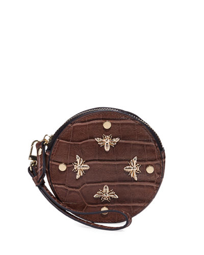 Bee Charm Croc-Embossed Faux-Leather Round Coin Purse