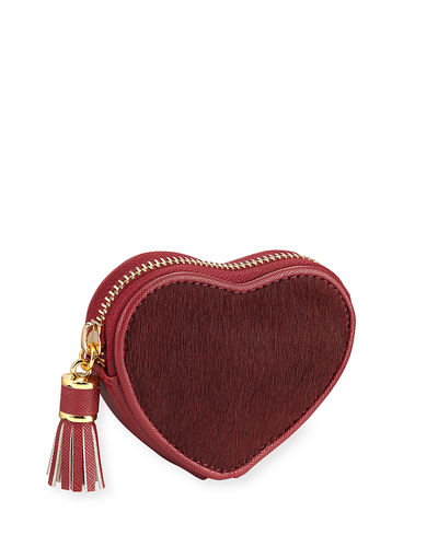 Heart-Shaped Calf-Hair Coin Purse