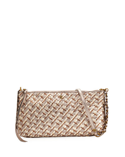 Demi Three-Way Woven Leather Crossbody Bag