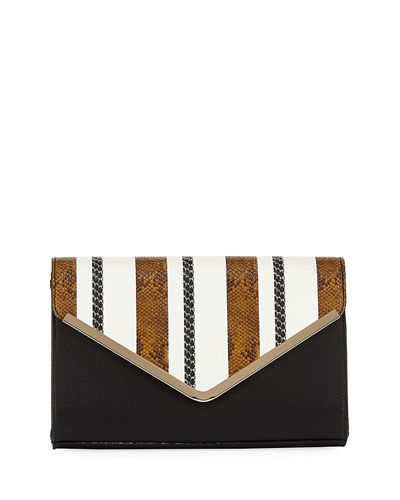 Snake-Print Striped Clutch Bag