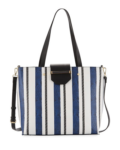 Florence Snake-Embossed Striped Tote Bag