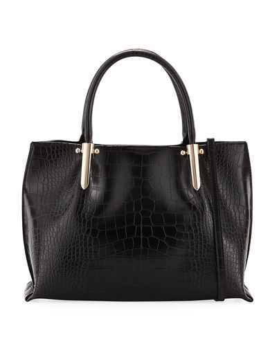 Willow Crocodile-Embossed Satchel Bag