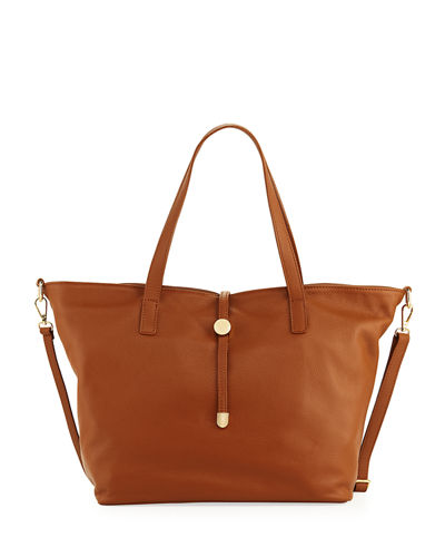 New Dollaro Leather Tote w/ Pull-Through Top