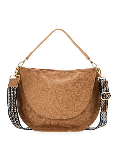 Dollaro Washed Leather Halfmoon Slouchy Crossbody Bag