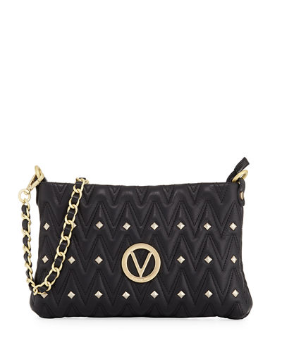 Vanille Studs Sauvage Leather Shoulder Bag