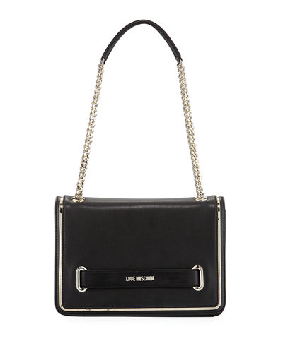Faux-Leather Chain Shoulder Bag
