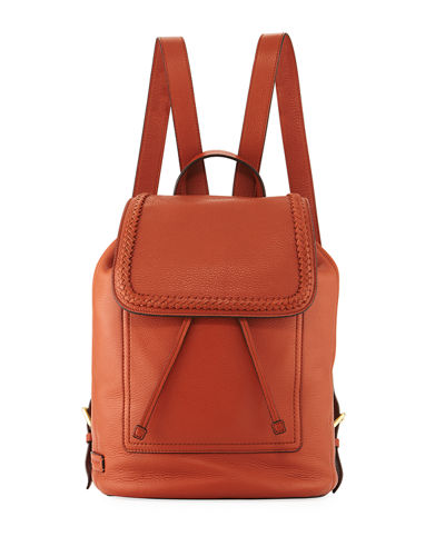 Celia Woven-Trim Leather Backpack