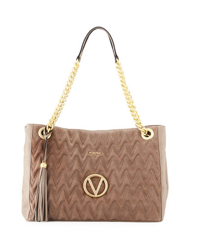 Verra Large Suede/Leather Quilted Tote Bag