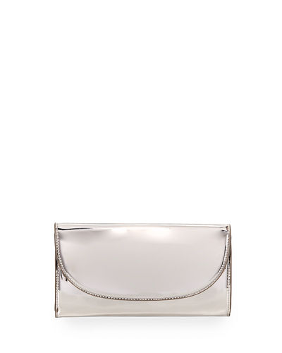Mirror Metallic Chain Crossbody Wallet