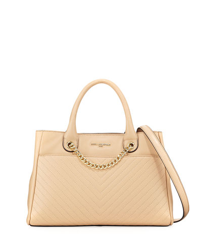 Charlotte Chevron-Quilted Satchel Bag