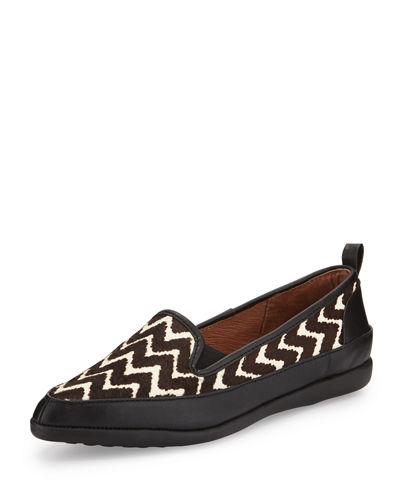 Lennox Chevron Calf-Hair Loafer, Black/Brown