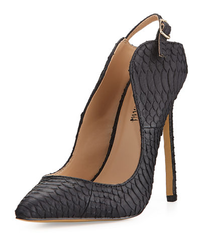 Loyal Snake-Embossed Pointed-Toe Pump