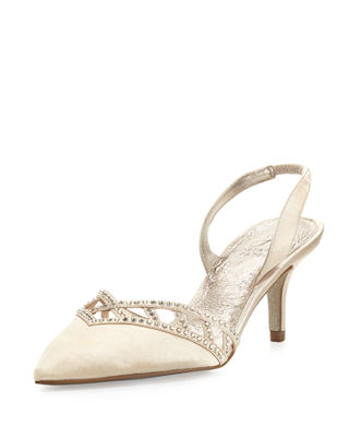 HAVEN CRYSTAL-TRIM SATIN PUMP