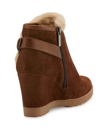 Christa Faux-Fur Suede Wedge Bootie