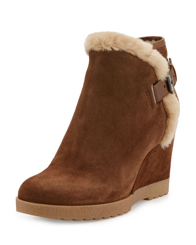 Christa Faux-Fur Suede Wedge Bootie, Chestnut