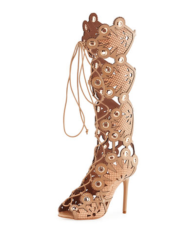 Cannes Tall Leather Lace-Up Pump
