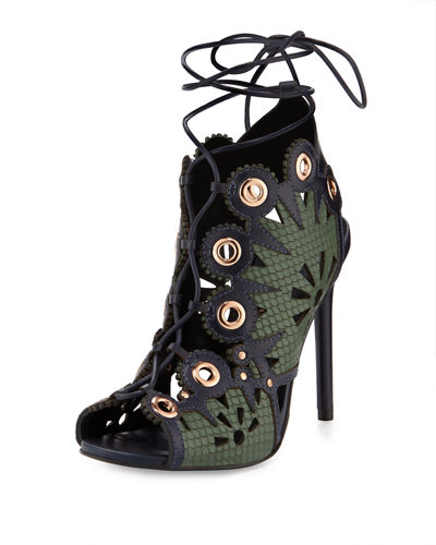 Castille Snake-Embossed Lace-Up Sandal