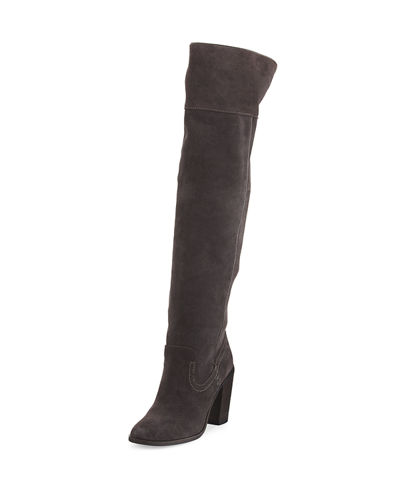 Orene Suede Over-The-Knee Boot, Anthracite