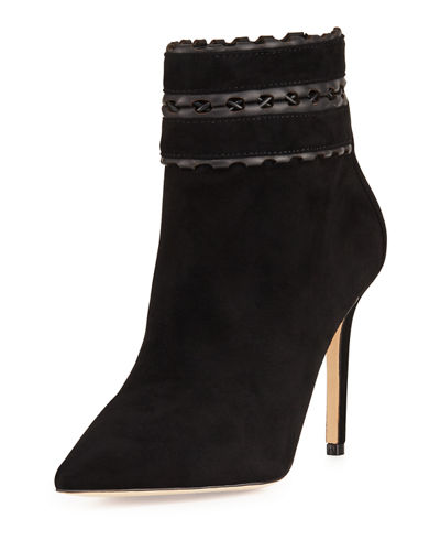 Dorsey Suede Bootie with Woven Leather Trim, Navy