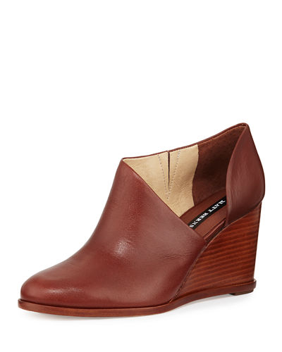 Edie Leather Half-d'Orsay Wedge Bootie