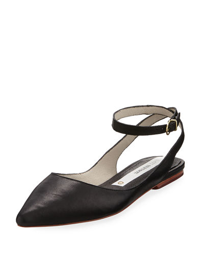 Zola Ankle-Strap Leather Flat