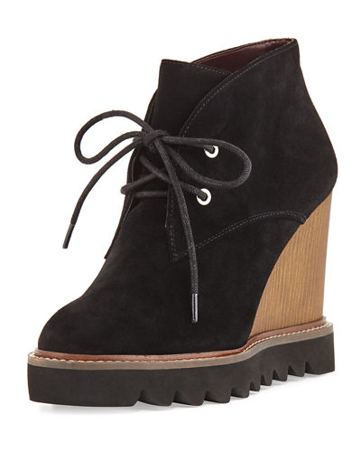 Nariska Suede Lace-Up Wedge Bootie
