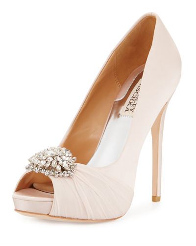 Pettal Crystal Peep-Toe Pump