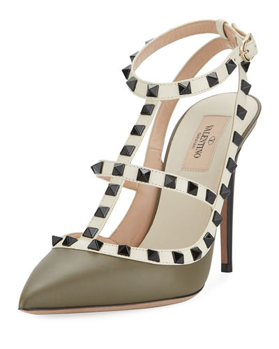 Rockstud Leather Caged Pump, Multi