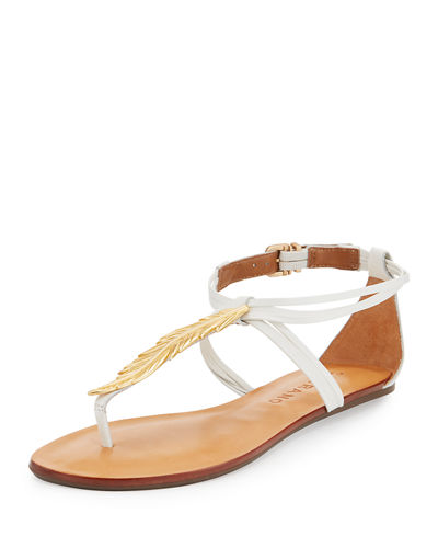Leather Strappy Sandal with Golden Leaf