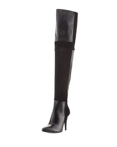 Over-the-Knee Paneled Suede Boot