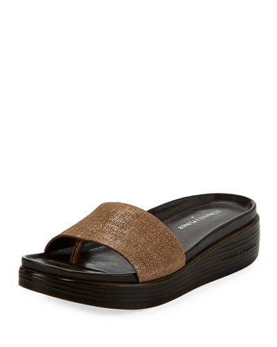 Fiji Distressed Metallic Slide Sandal