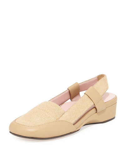 Linen Low-Wedge Slingback