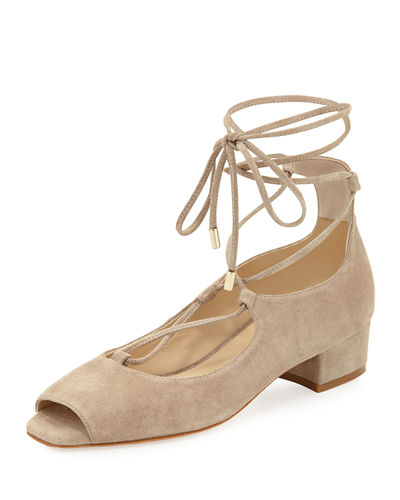 Emmie Lace-Up Open-Toe Suede Sandal