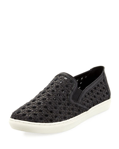 Clara Woven Leather Skater Sneaker