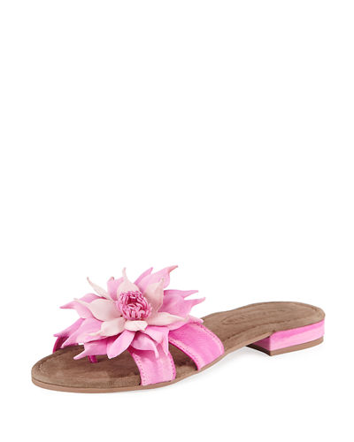Leather Star Flower Slide Sandal