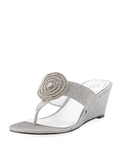 Casey Metallic Slide Wedge Sandal