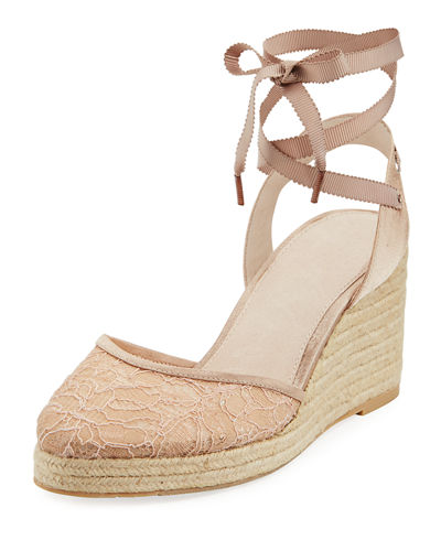 Penny Lace Ankle Espadrille Beige