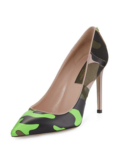 Camouflage-Print Leather 100mm Pump