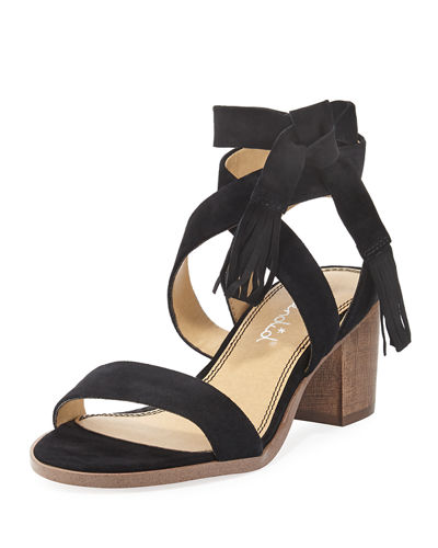 Janine Suede Ankle-Wrap Sandal