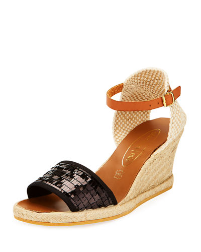 Lona Bugle Beaded Espadrille Wedge Sandal