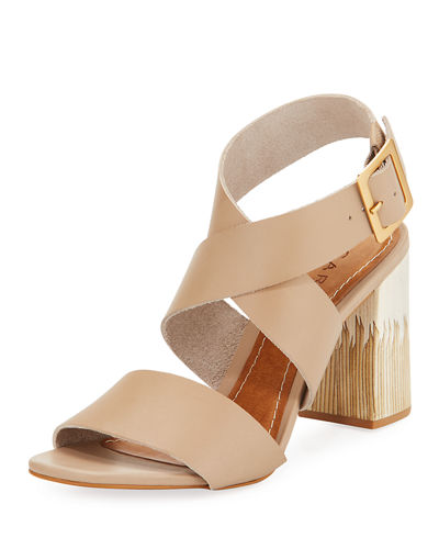 Aura Leather Ankle-Wrap Sandal