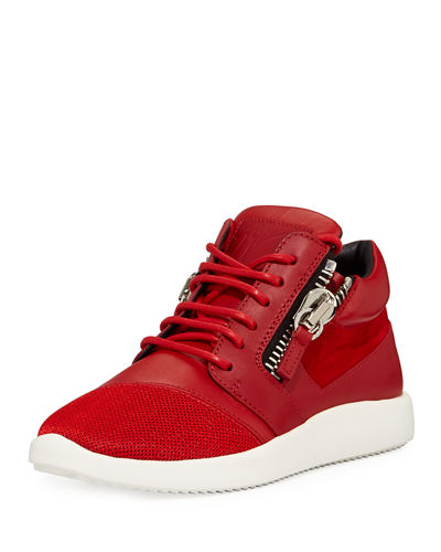 Dual-Zip Leather High-Top Sneaker